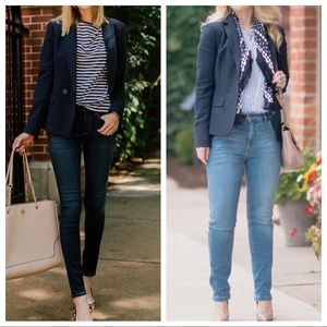 J. Crew Dover Classic Double Breasted Blazer Navy